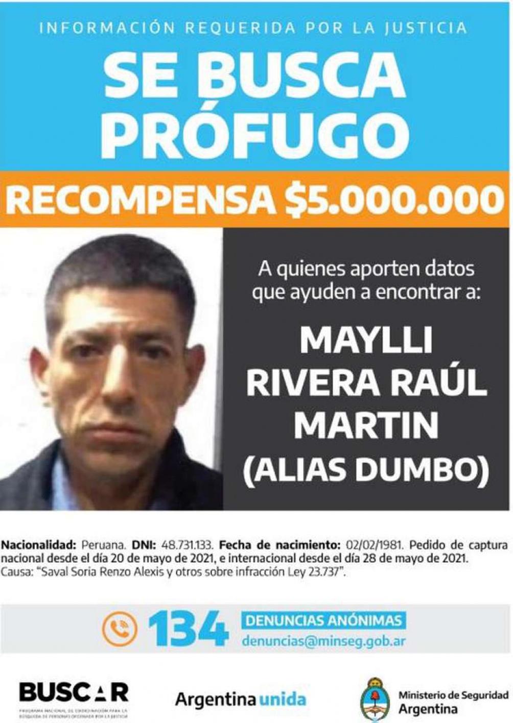 """Decenas de llamados de personas que dicen haber visto a Raúl Martín Maylli Rivera, alias """"Dumbo""""."""