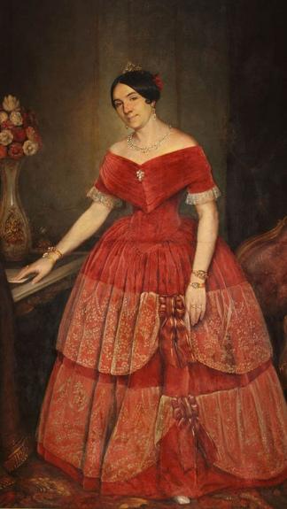 Manuelita Rosas con su vestido armado, retratada pro Pridiliano Pueyrredón.