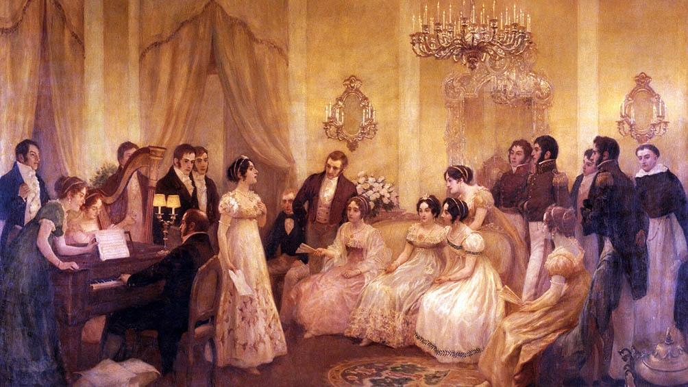 Mariquita Sánchez de Thompson y su vestido talle imperio en un óleo de Pedro Subercasseaux.