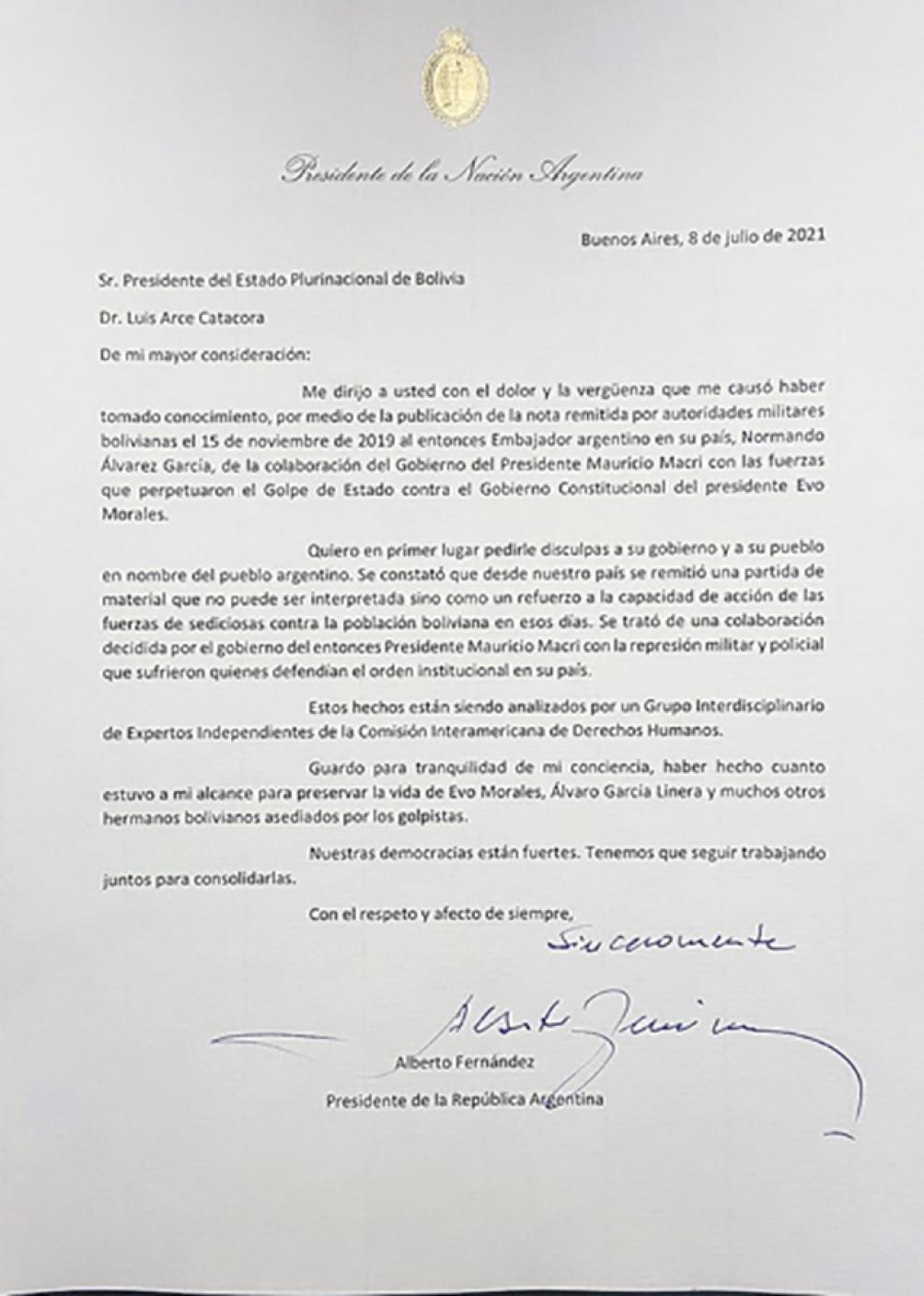 En nombre del pueblo argentino, el Presidente pidió disculpas a los ciudadanos bolivianos en una carta enviado a su par boliviano, Luis Arce.