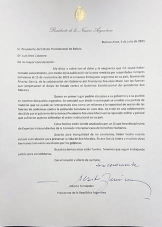 Carta del Presidente Alberto Fernández a su par boliviano con relación a los hechos ocurridos durante el gobierno de Mauricio Macri.