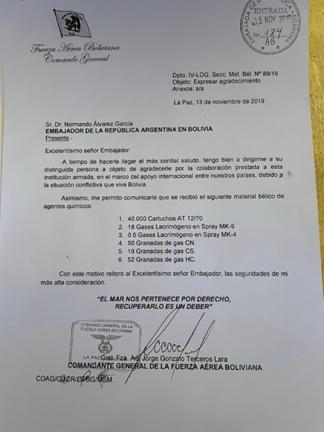 Carta recibida y sellada en la embajada argentina a cargo de Normando Álvarez García agradeciendo el armamento provisto a Bolivia por el gobierno de Macri.