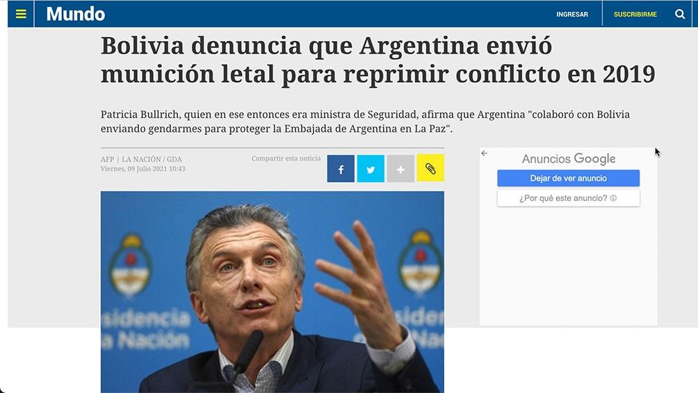 El escándalo del envío de armas por parte del gobierno macrista a los golpistas que atacaron al presidente constitucional Evo Morales fue recogido por distintos medios internacionales.