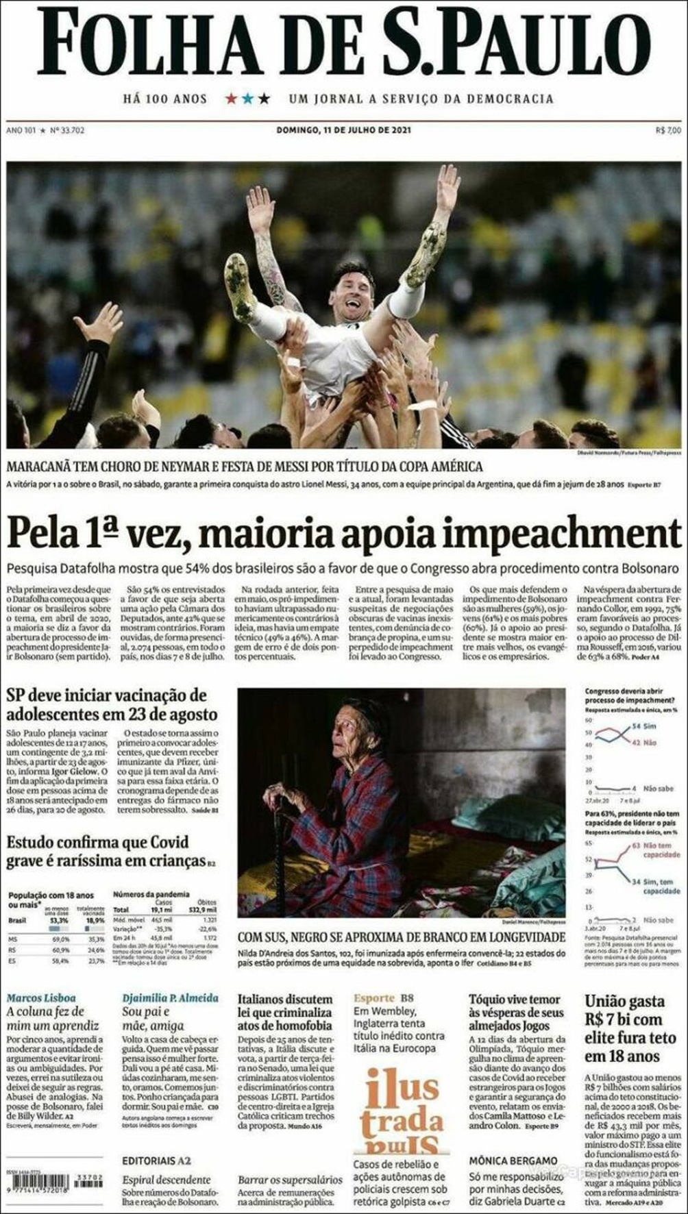 Folha de Sao Paulo le dedicó un espacio importante de su tapa a una foto de Messi en andas.
