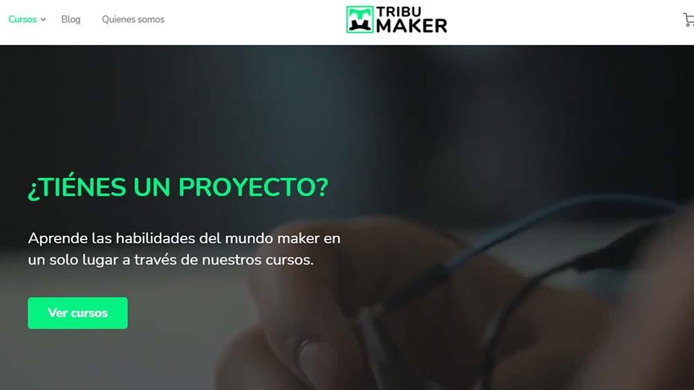 La página de Tribu Maker con la oferta de cursos tecnológicos.