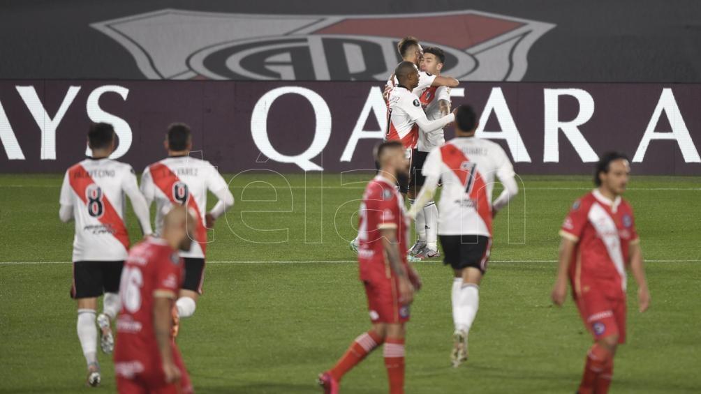 "El festejo del tanto ""Millonario"" (Foto: Alejandro Santa Cruz)."