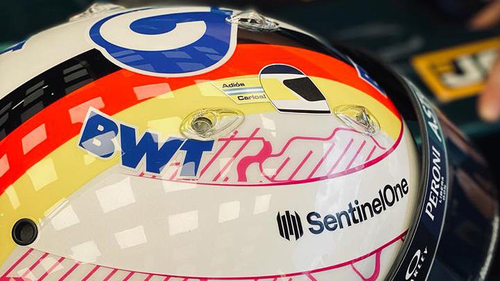 Vettel lució un casco alusivo a Reutemann en las prácticas de Fórmula 1 en Gran Bretaña