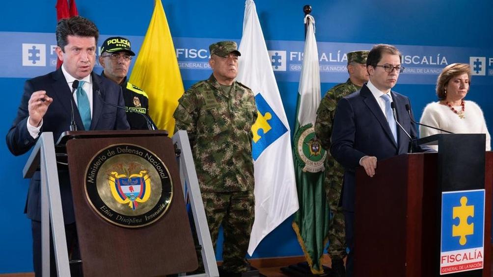 El ministro Molano estuvo acompañado por el fiscal general, Francisco Barbosa, y el director de la Policía Nacional, el general Jorge Luis Vargas,