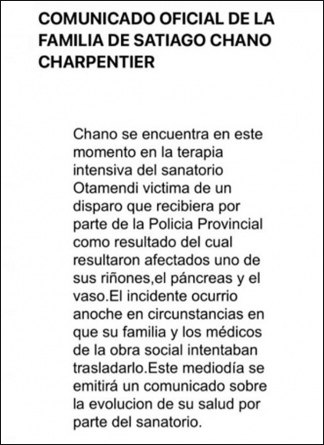 """El comunicado de la familia de """"Chano""""."""