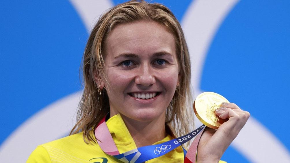 Ariarne Titmus, reina con marca batida incluída en los 200 libres femenino, (Foto: AFP)