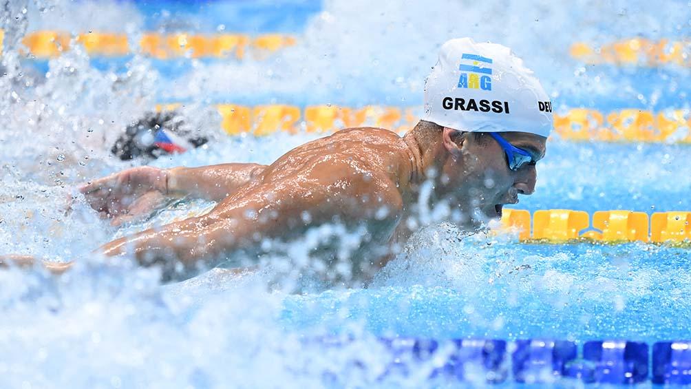 Grassi no pudo clasificar en los 100 metros mariposa de su serie en los JJOO