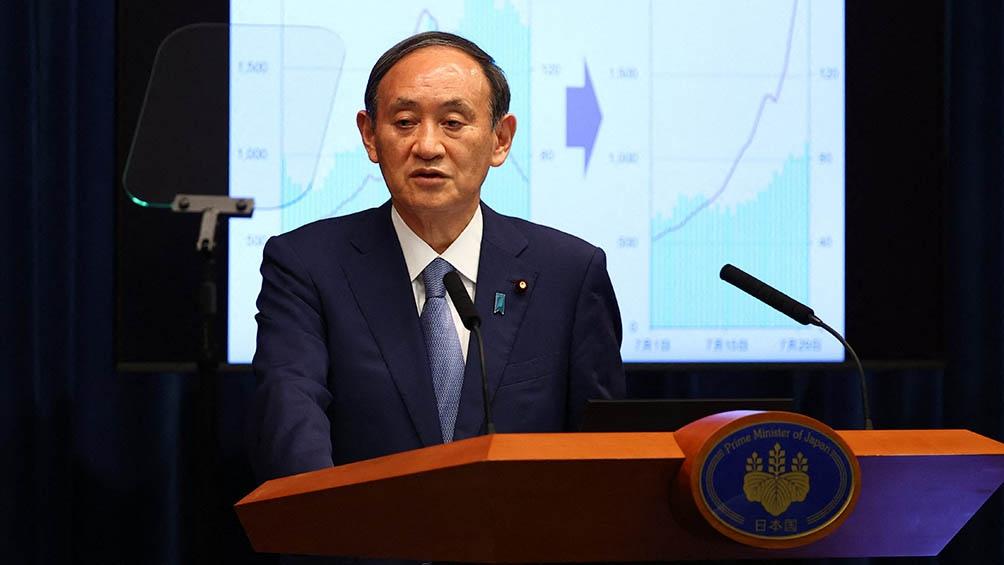"""""""La infección se propaga a una velocidad nunca vista antes"""", dijo el primer ministro Yoshihide Suga. Foto: AFP"""