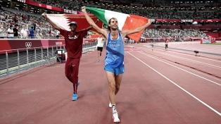 El italiano Tamberi y el qatarí Barshim compartieron el oro en salto en alto