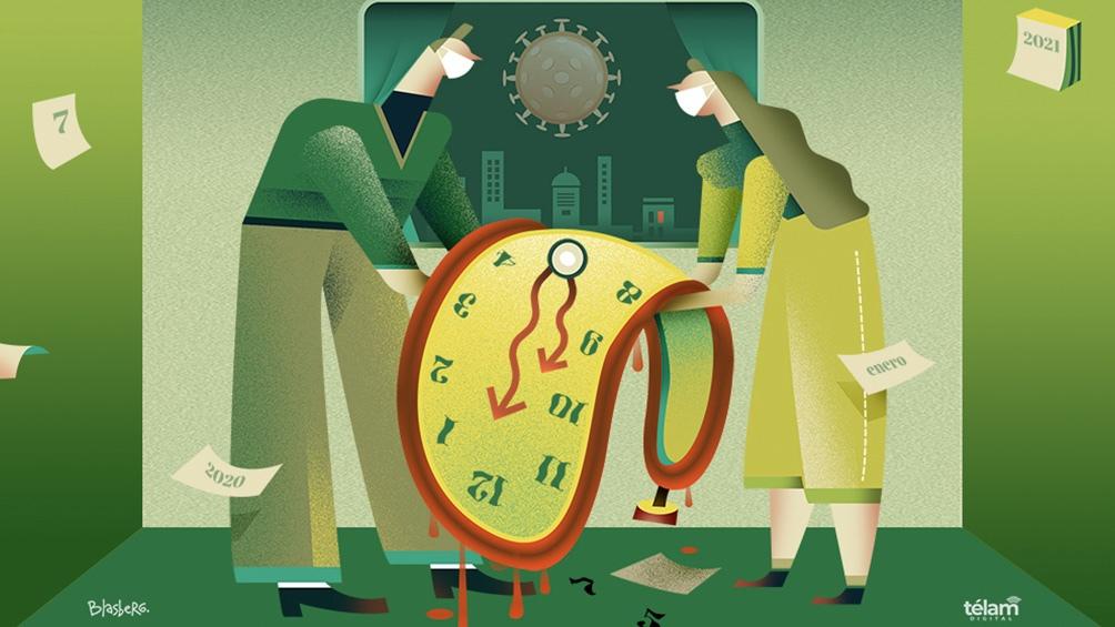 Los cambios que trajo la pandemia en la percepción del tiempo: desconcierto, avaricia y mutitasking (Ilustración  Pablo Blasberg)