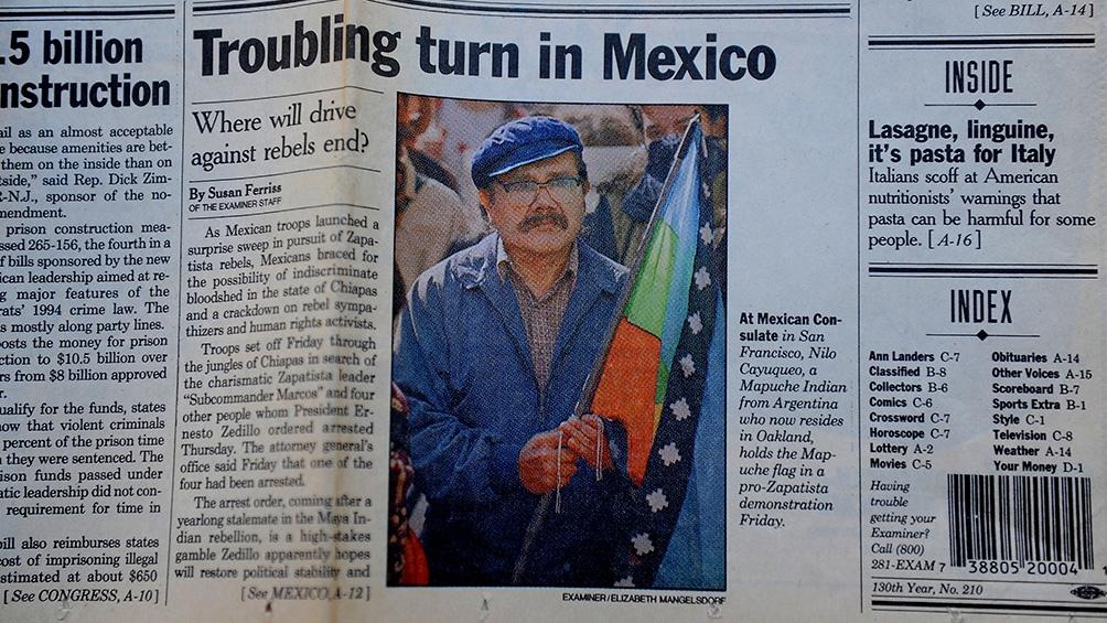 "Nilo nació en 1945 creció en la comunidad mapuche llamada ""Campo de la Tribu de Coliqueo""."