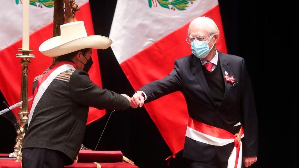 El presidente Pedro Castillo y su ministro de Relaciones Exterior, Héctor Béjar (Foto: Agencia Andina).