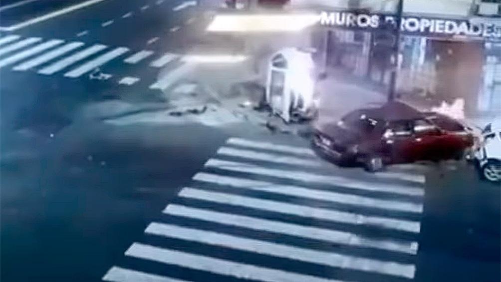 Captura de TV del momento del accidente.