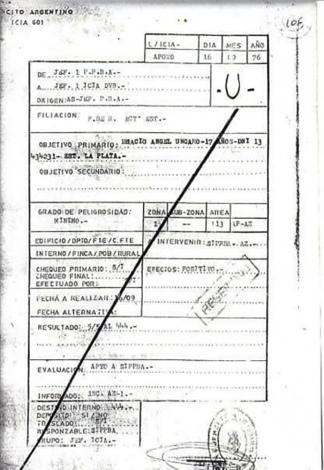 El legajo que el Ejército armó de Horacio Ungaro.