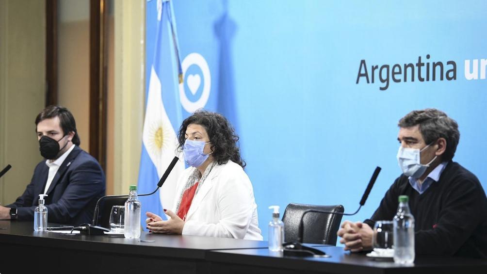 Conferencia de prensa de Vizzotti, Quirós y Kreplak.