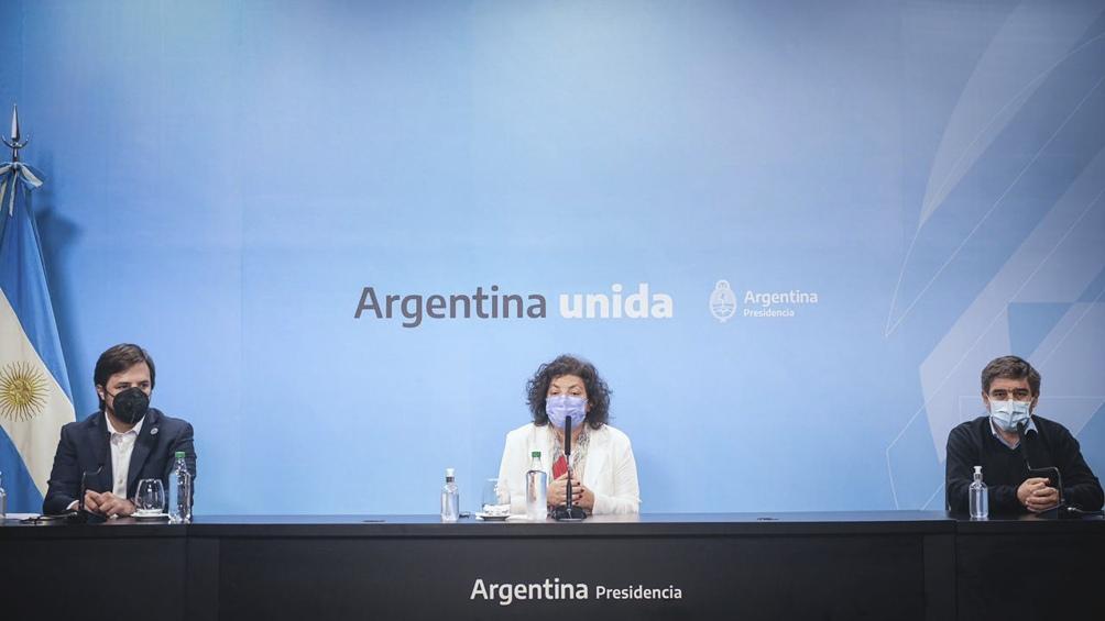 La conferencia fue luego de la reunión con Santiago Cafiero