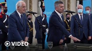 El Presidente tomó juramento a los nuevos ministros Taiana y Zabaleta