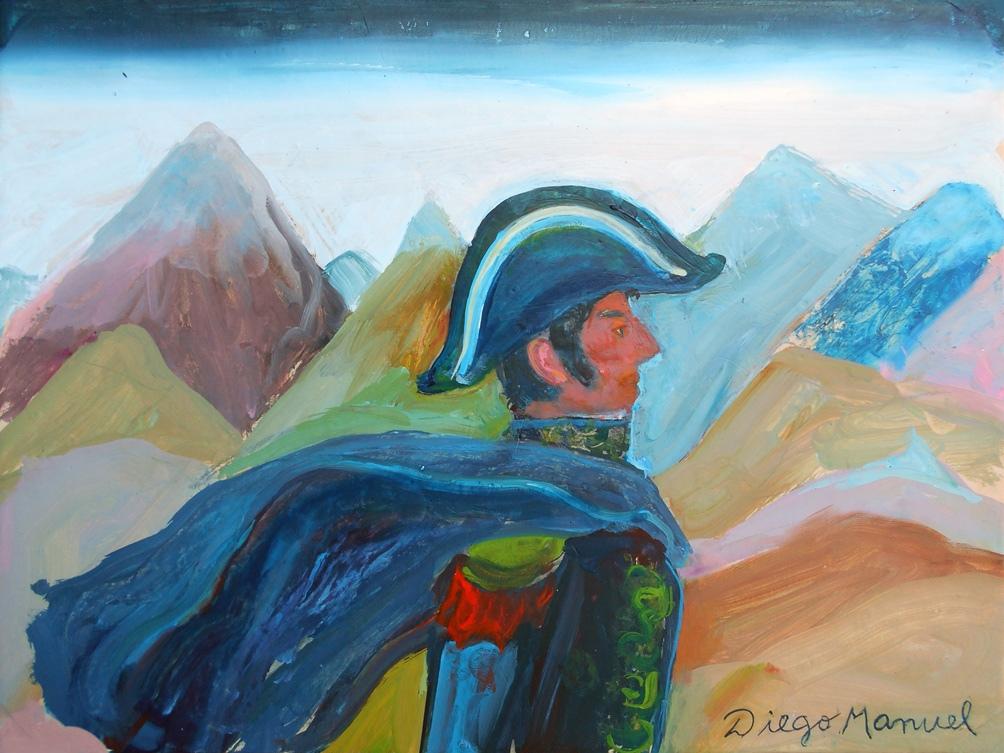 """""""San Martín cruzando Los Andes 4 """", acrílico sobre papel (año 2020) de Diego Manuel Rodríguez (www.diegomanuel.com.ar)"""