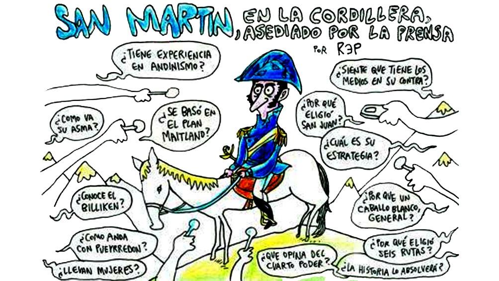 Rep imaginó a un San Martín rodeado por periodistas.