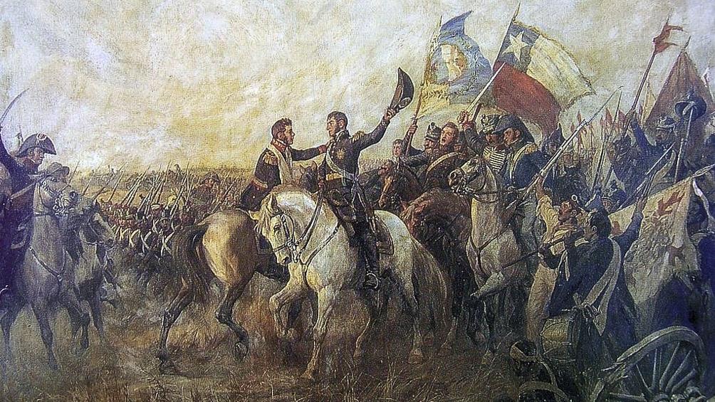 """""""Encuentro de San Martín y Bolívar"""", obra de Pedro Subercasaux."""