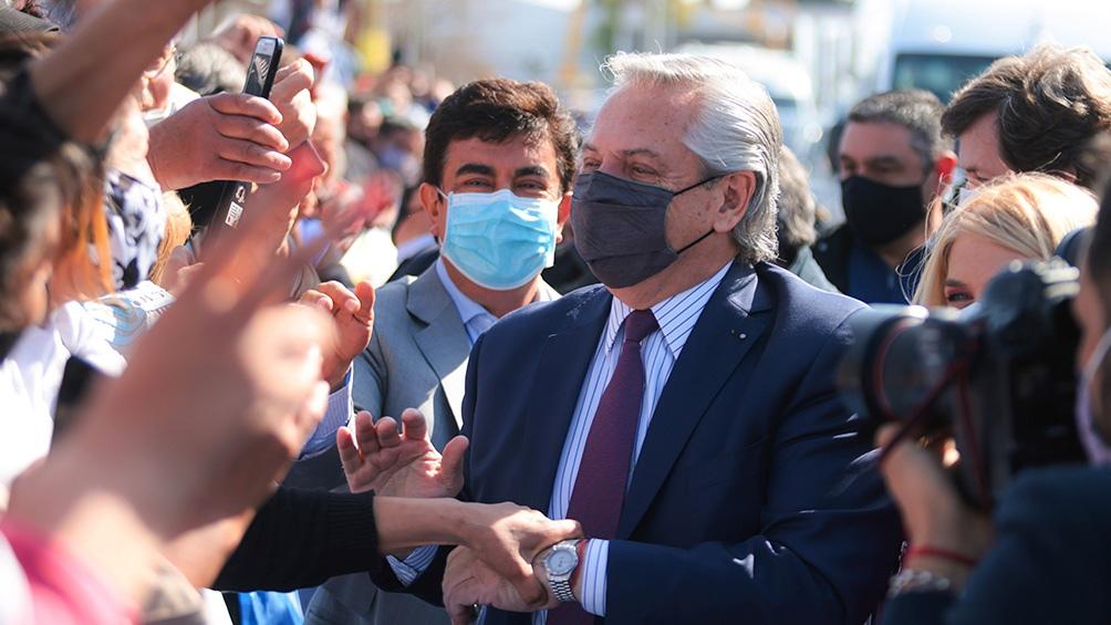 Alberto Fernández, al llegar al Centro Universitario de la Innovación (Cudi) en la localidad de González Catán.