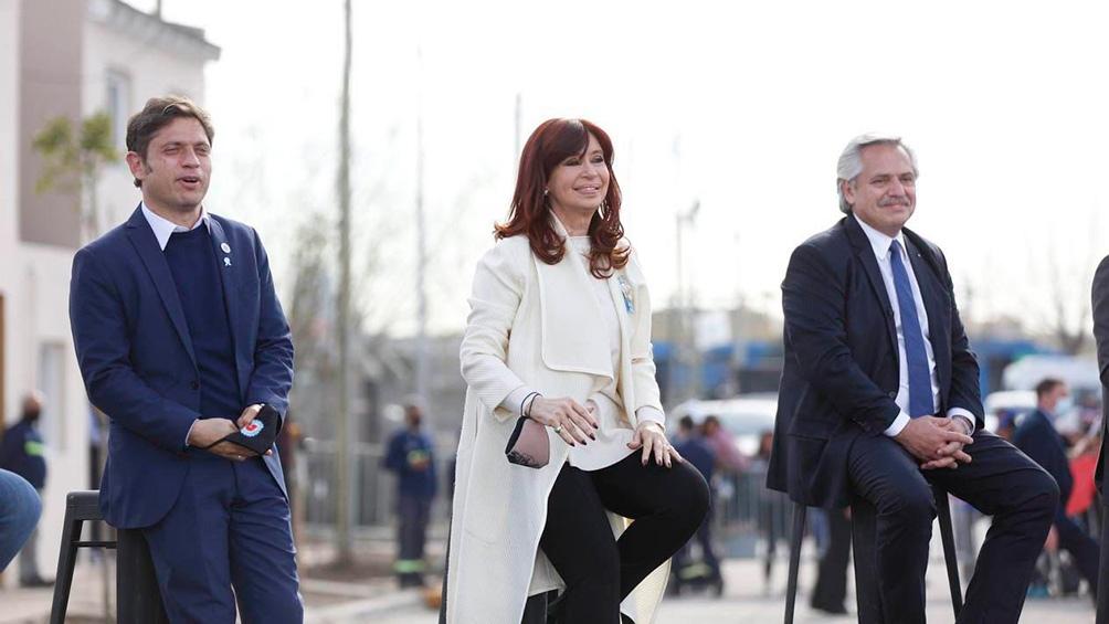Alberto Fernández, Cristina Fernández de Kirchner y Axel Kicillof, en el acto de la Isla Maciel.