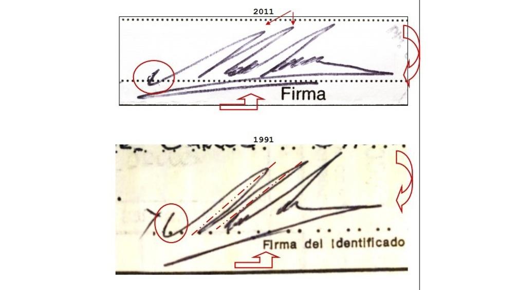 Dos firmas de Maradona, con veinte años de diferencia.