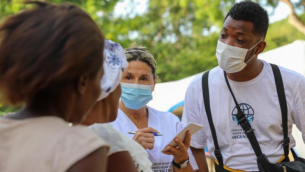 La misión de Cascos Blancos en Haití había partido el sábado 21 de agosto en un Hércules de la Fuerza Aérea.  Fotos: Prensa Cascos Blancos.