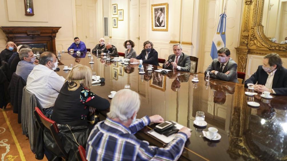 Una de las reuniones de las autoridades de la central obrera con el presidente Alberto Fernández.