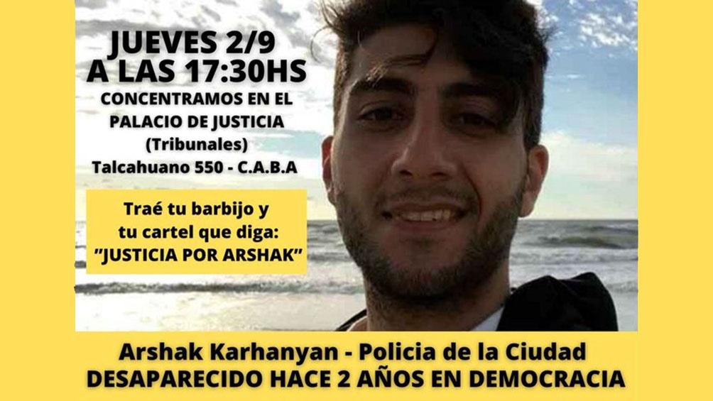 """La concentración se hará frente al Palacio de Tribunales con la consigna """"Justicia para Arshak""""."""