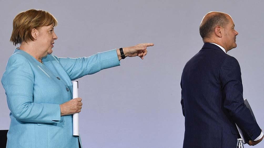 Merkel busca diferenciarse de Olaf Scholz. Foto: AFP