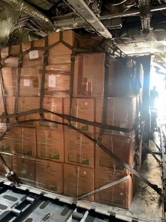 El cargamento trasladado en un Hércules de la Fuerza Aérea