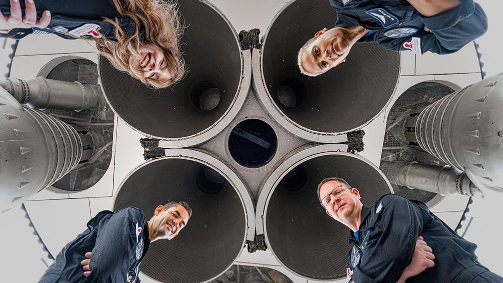 """La misión Inspiration 4 es """"el primer vuelo espacial humano totalmente civil del mundo en órbita"""". Foto: AFP"""