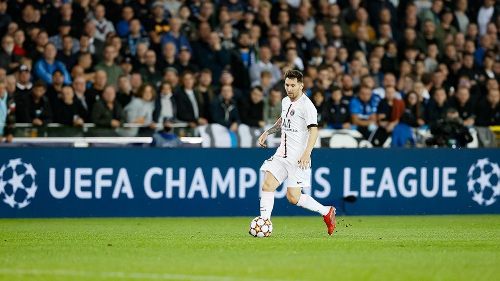 Messi activo en el ataque de PSG ante el Brujas. Foto: @ChampionsLeague