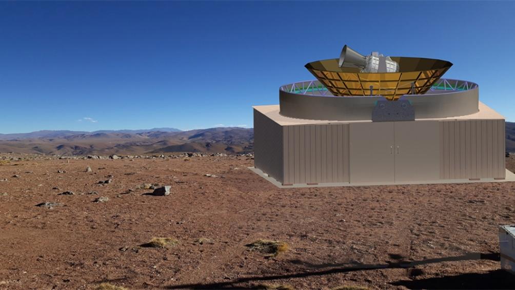 Así se verá el Telescopio del Proyecto Qubic en Alto Chorrillos, a cinco mil metros de altura, en la puna salteña (Foto: Proyecto Qubic)