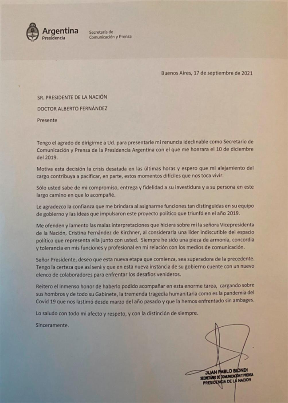 Carta de Juan Pablo Biondi. TW: @JuanPabloBiondi