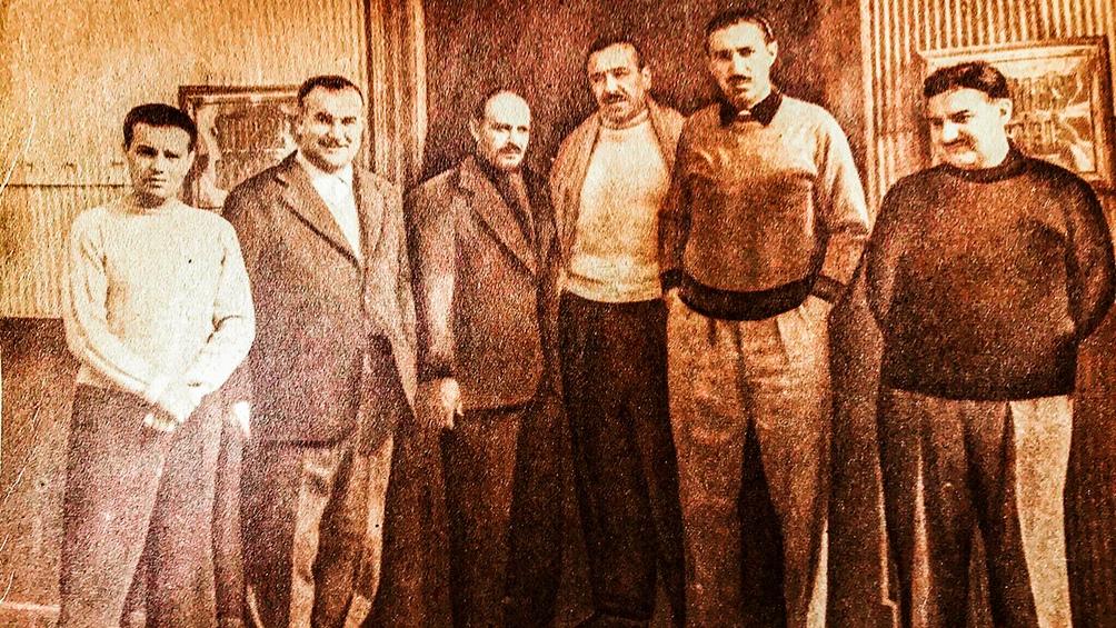 Los protagonistas de la fuga: Guillermo Patricio Kelly, Pedro Gomiz, José Espejo, Héctor J. Cámpora, Jorge Antonio y John W. Cooke.