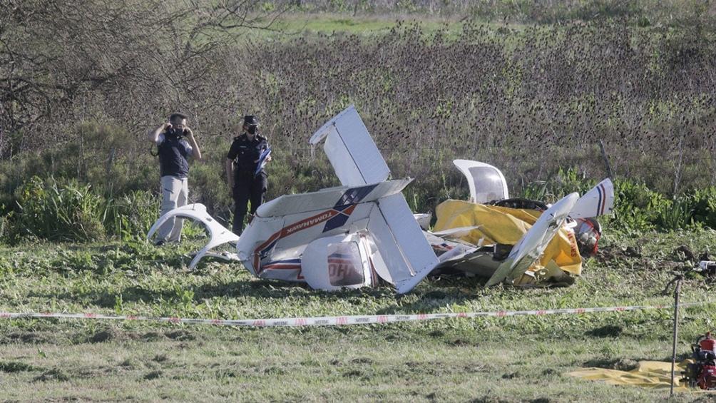 La caída de la avioneta se produjo fuera de la traza y zona de banquina. Foto: Leo Vaca