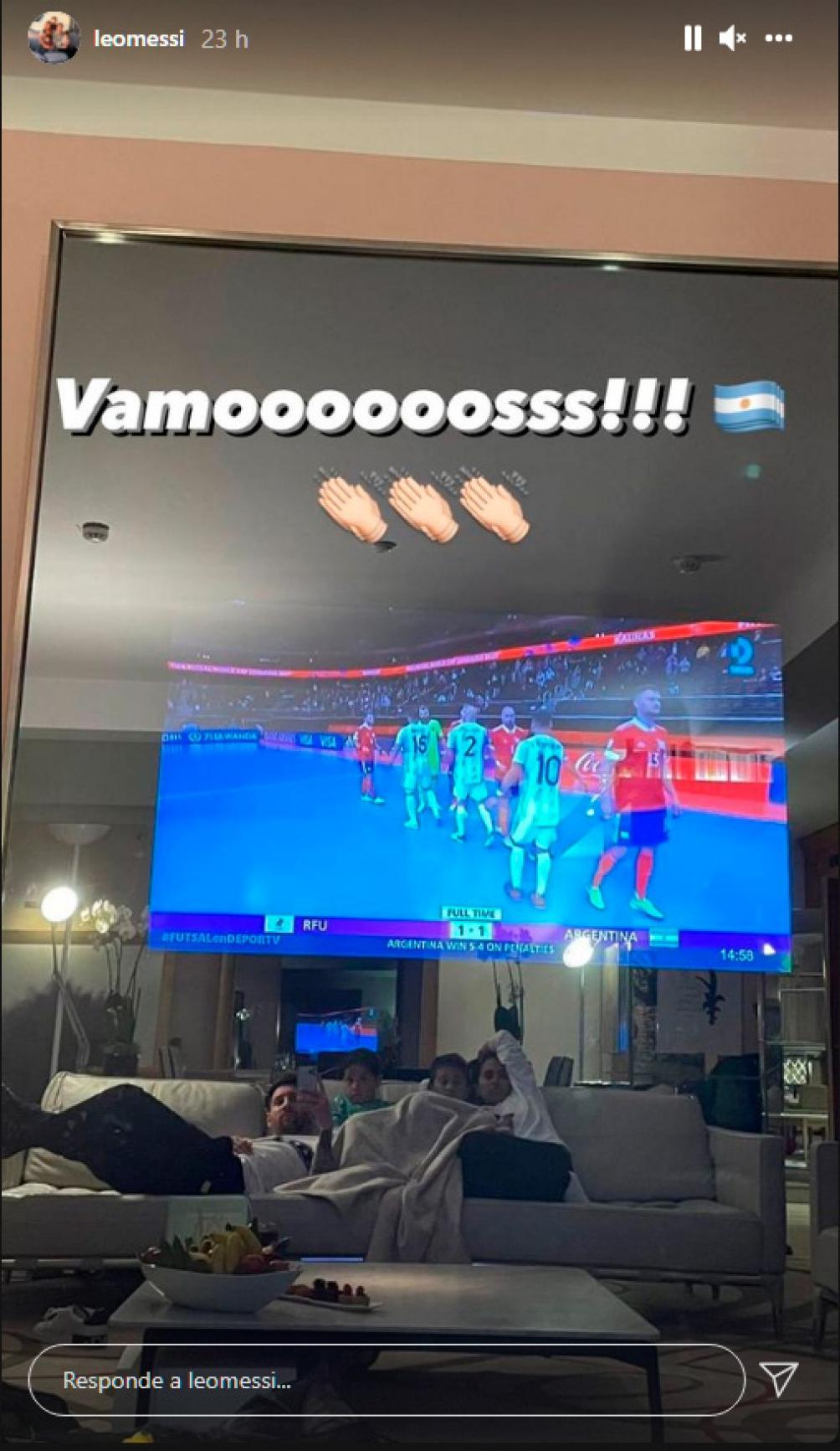 Messi y su apoyo al seleccionado de futsal en Instagram.