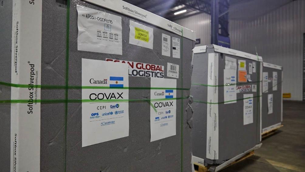 El nuevo lote, de 549.600 dosis, fue donado por Canadá a través del Mecanismo Covax.