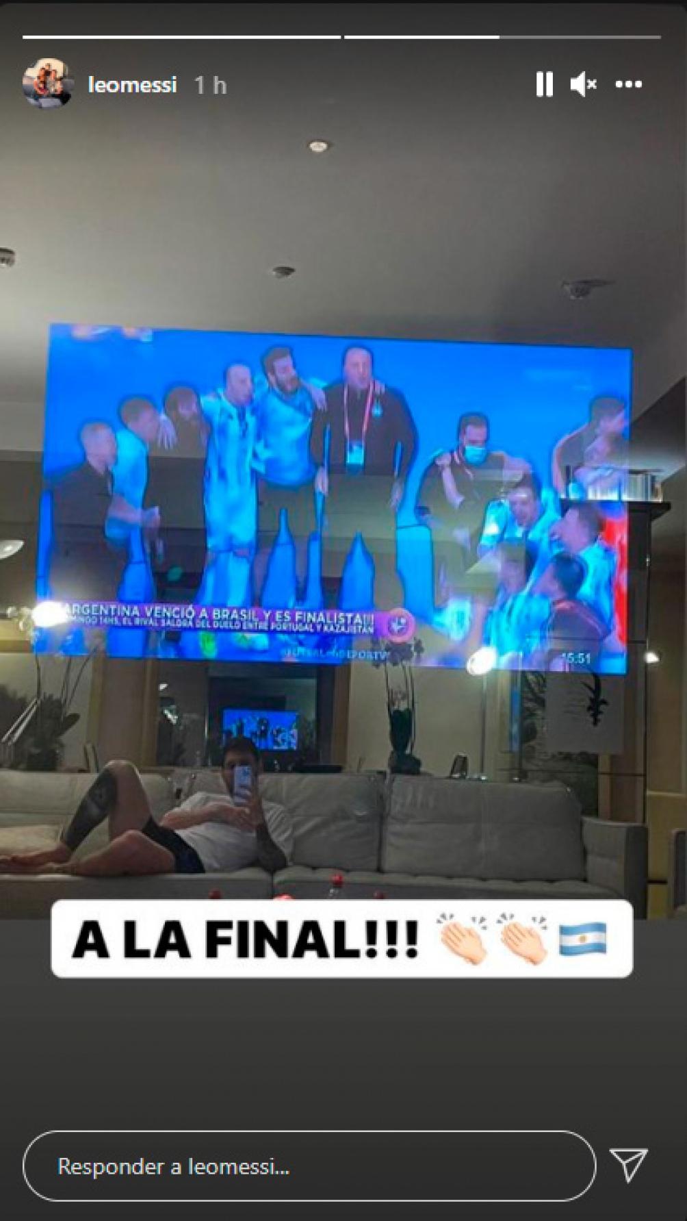 Messi en su hogar festejó el pase a la final de Argentina en la Copa del Mundo de Futsal. Foto: @Leomessi