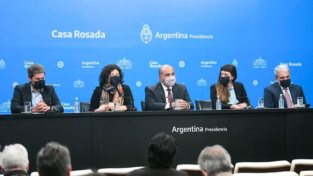 Estuvo acompañado por los ministros Aníbal Fernández, Carla Vizzotti y Matías Lammens.