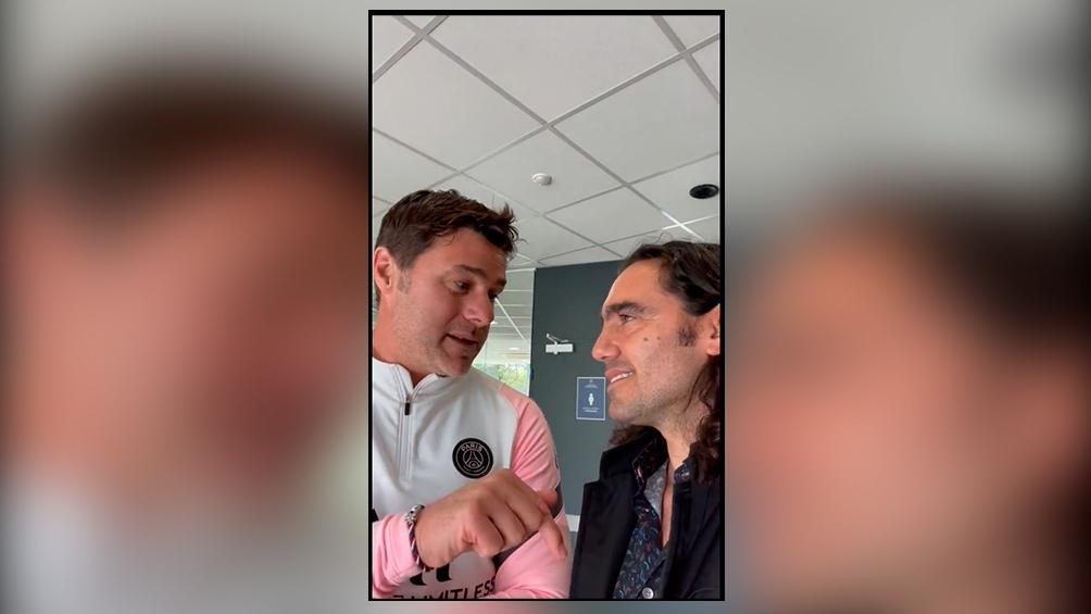 """Pochettino y Sorín, encuentro """"celeste y blanco"""" en París. Foto: ImagenTV"""