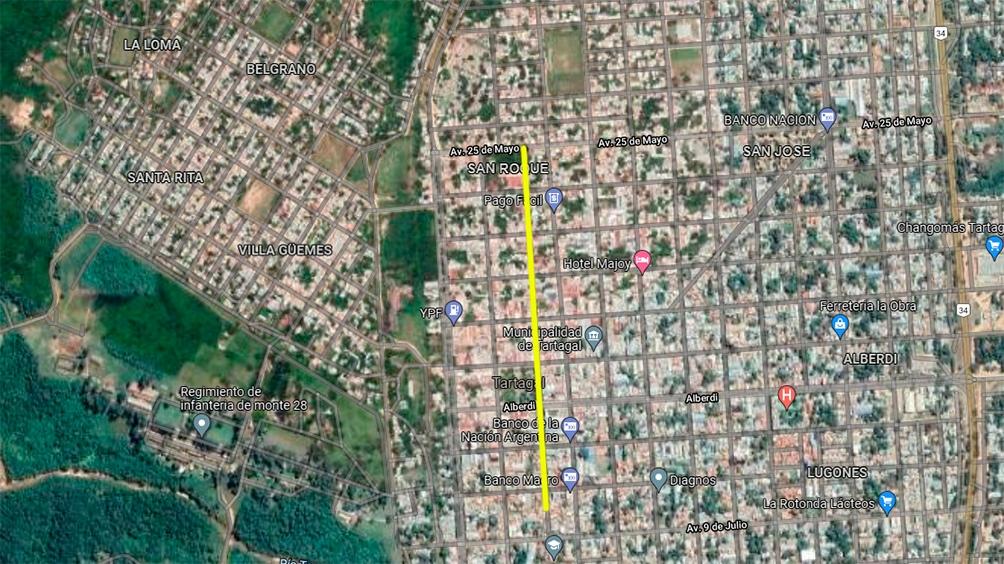 El cuerpo de Zerpa fue encontrado en su comercio, en la calle Güemes, de la ciudad salteña de Tartagal (Captura Google maps)