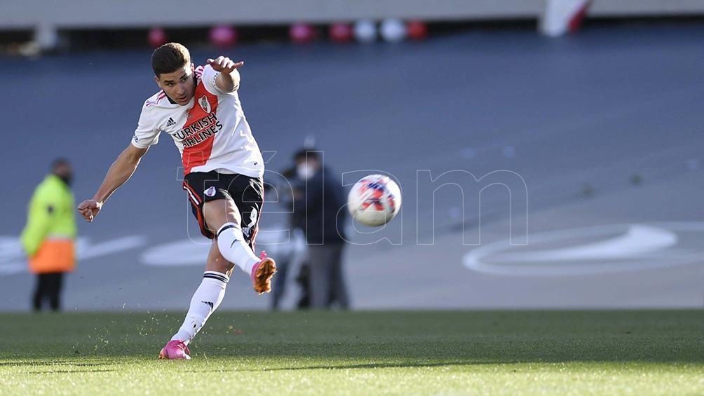 """Alvarez, autor de los dos goles en el """"Millonario"""" ante Boca. Foto: Alejandro Santa Cruz"""