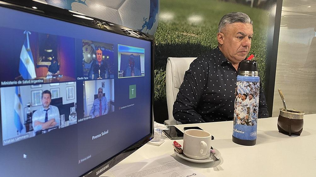 El titular de AFA durante la videoconferencia